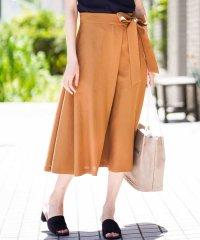 【セットアップ対応/洗える】リネンライクラップデザインスカート