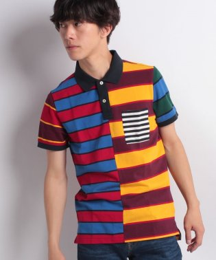 オールオーバーストライププリントポロシャツ