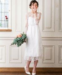 【WEB限定・結婚式・ウェディングドレス】kaene×formforma/フラワーチュールレース 袖付きロングウェディングドレス