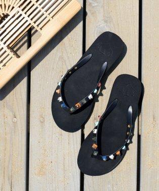 ◆柔らかソールで履きやすい◆スタッズ付厚底ビーチサンダル