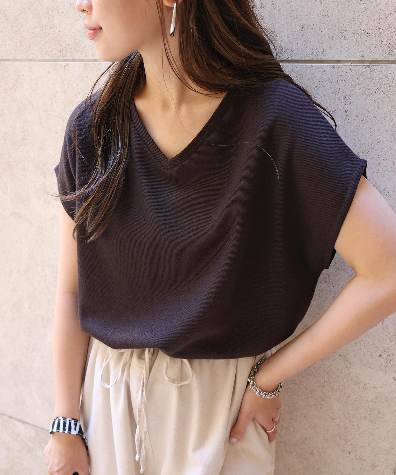 【L-9】フレンチスリーブ Vネック ニット カットソー 半袖 Tシャツ