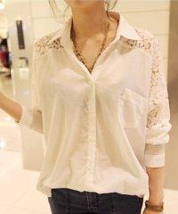 レースシフォンシャツ ファッション レディース 涼しい 白 黒 透明感【vl-5079】【S/S】