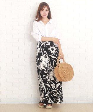 モノクロガウチョパンツ ファッション レディース ゆったり シンプル コットン白黒【vl-5228】【S/S】