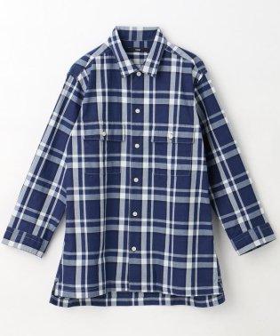 インディゴ7分袖チェック柄シャツ