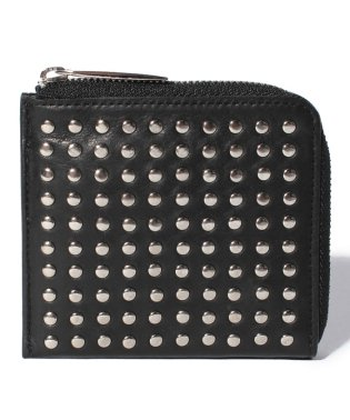 Leather L-zip wallet 'all-studs'