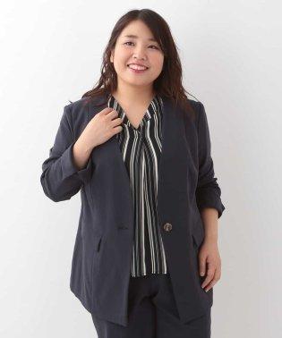 【大きいサイズ】ノーカラーデザインジャケット