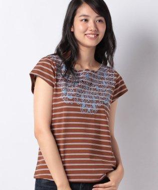 フロントカラー刺繍ボーダーT