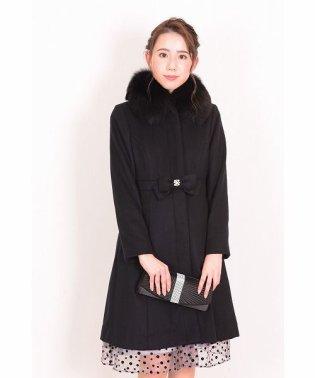 ウエストリボンファー襟コート
