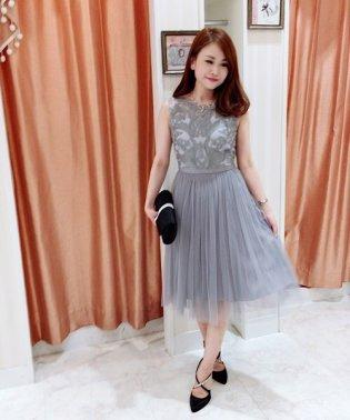 オーガンジー刺繍チュールプリーツドレス