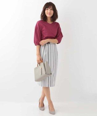 【洗える】ランダムストライプタイトスカート
