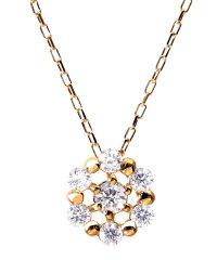 贅沢なこだわりダイヤモンドジュエリー★K18ゴールド 天然ダイヤモンド 計0.1ct 7石サークル ネックレス【K18PG ピンクゴールド】