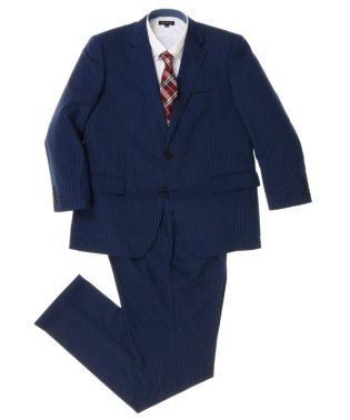 【大きいサイズ】紺ストライプ1タック2ピーススーツ