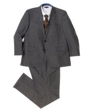 【大きいサイズ】グレー無地1タック2ピーススーツ