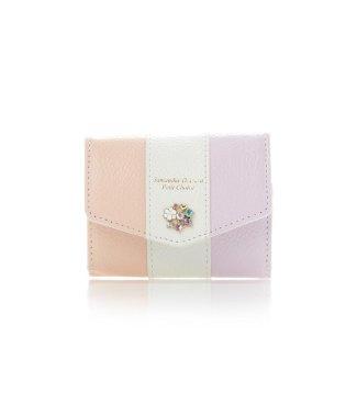 フラワービジューレターシリーズバイカラーバージョンミニ財布