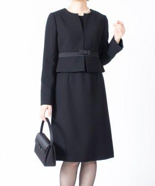 【オールシーズン・喪服・礼服・フォーマル用】サテン切替えノーカラーアンサンブル・セットアップ