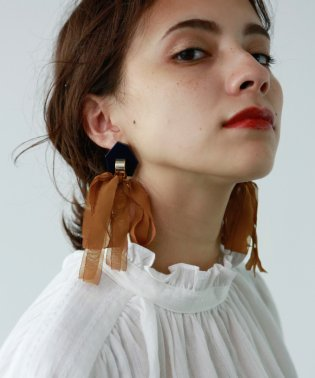 CHIFFON RIBON PIERCE/EARRING