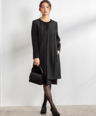 【喪服・礼服・冠婚葬祭】ロングジャケット×前ファスナーフレアワンピース セットアップスーツ