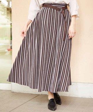 【洗える】【日本製】マルチストライプフレアスカート