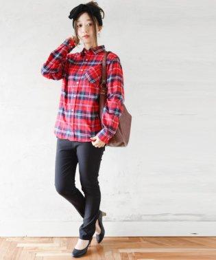 ボーイフレンドBIGネルチェックレギュラーシャツ【M】【L】【LL】レディース 大きいサイズ 長袖 大人カジュアル トップス チェックシャツ ネルシャツ シャツ