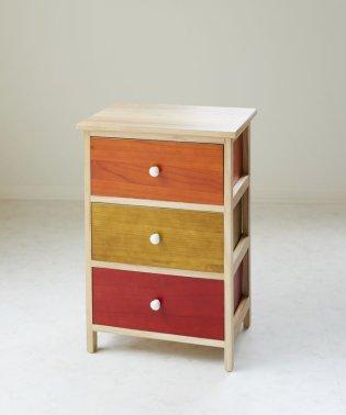 木製3段チェスト(カラー)
