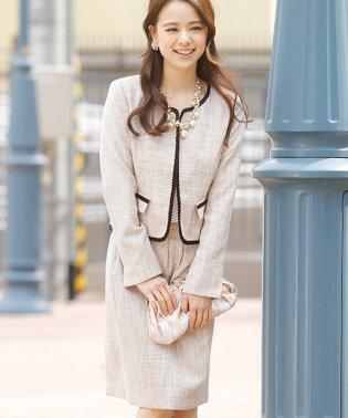 【入学式・卒園式】2点セット ジャケット ノーカラーラメツイード スカート