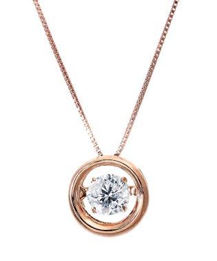 厳選ダイヤが胸元で踊る!K18ゴールド ダンシング 天然ダイヤモンド 大粒0.5ct サークルネックレス 【K18PG ピンクゴールド】