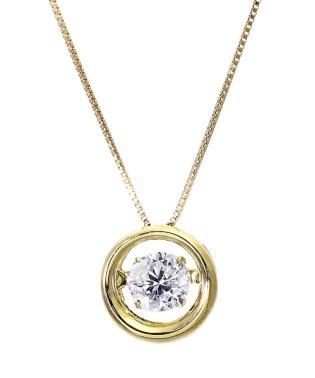 厳選ダイヤが胸元で踊る!K18ゴールド ダンシング 天然ダイヤモンド 大粒0.5ct サークルネックレス 【K18YG イエローゴールド】