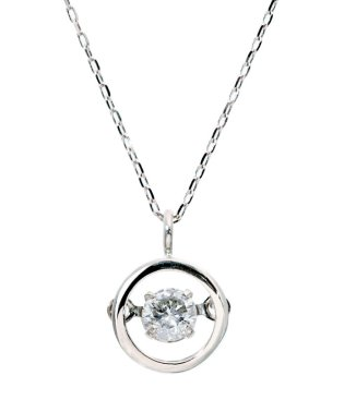 厳選ダイヤが胸元で踊る!K18ゴールド ダンシング 天然ダイヤモンド 0.13ct サークルネックレス 【K18WG ホワイトゴールド】