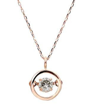厳選ダイヤが胸元で踊る!K18ゴールド ダンシング 天然ダイヤモンド 0.13ct サークルネックレス 【K18PG ピンクゴールド】