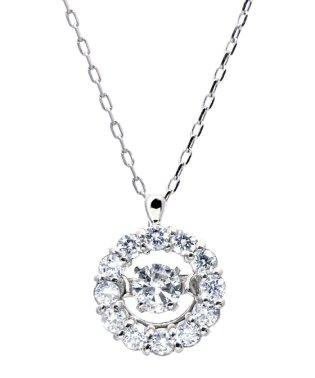 厳選ダイヤが胸元で踊る!K18ゴールド ダンシング 天然ダイヤモンド 計0.2ct サークルネックレス 【K18WG ホワイトゴールド】