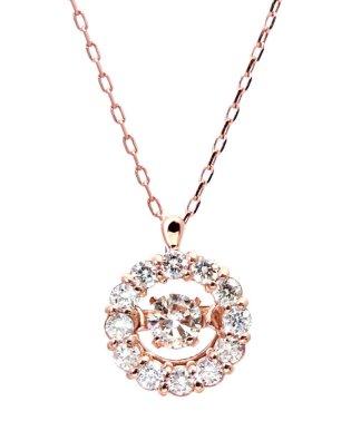 厳選ダイヤが胸元で踊る!K18ゴールド ダンシング 天然ダイヤモンド 計0.2ct サークルネックレス 【K18PG ピンクゴールド】