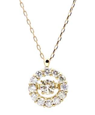 厳選ダイヤが胸元で踊る!K18ゴールド ダンシング 天然ダイヤモンド 計0.2ct サークルネックレス 【K18YG イエローゴールド】