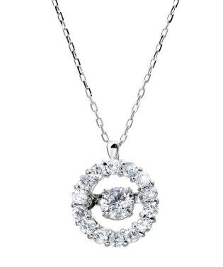 厳選ダイヤが胸元で踊る!K18ゴールド ダンシング 天然ダイヤモンド 計0.3ct サークルネックレス 【K18WG ホワイトゴールド】
