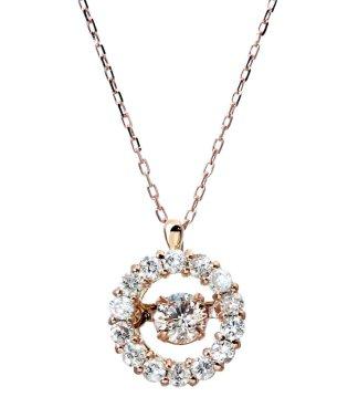 厳選ダイヤが胸元で踊る!K18ゴールド ダンシング 天然ダイヤモンド 計0.3ct サークルネックレス 【K18PG ピンクゴールド】