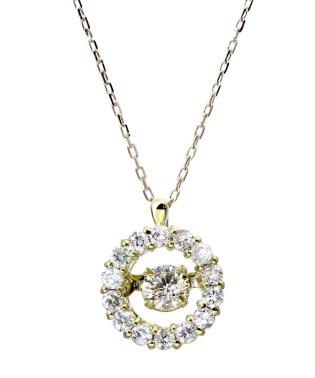 厳選ダイヤが胸元で踊る!K18ゴールド ダンシング 天然ダイヤモンド 計0.3ct サークルネックレス 【K18YG イエローゴールド】
