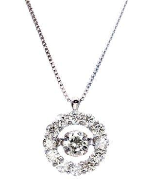 厳選ダイヤが胸元で踊る!K18ゴールド ダンシング 天然ダイヤモンド 計0.5ct サークルネックレス 【K18WG ホワイトゴールド】