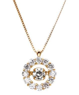 厳選ダイヤが胸元で踊る!K18ゴールド ダンシング 天然ダイヤモンド 計0.5ct サークルネックレス 【K18PG ピンクゴールド】