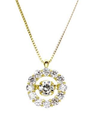 厳選ダイヤが胸元で踊る!K18ゴールド ダンシング 天然ダイヤモンド 計0.5ct サークルネックレス 【K18YG イエローゴールド】