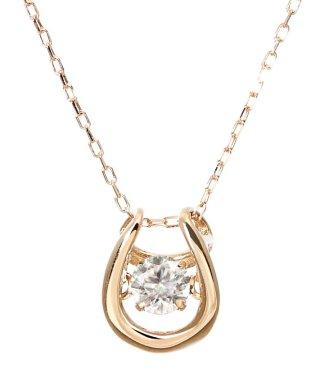 厳選ダイヤが胸元で踊る!K18ゴールド ダンシング 天然ダイヤモンド 0.1ct 馬蹄ネックレス 【K18PG ピンクゴールド】
