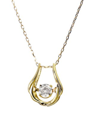 厳選ダイヤが胸元で踊る!K18ゴールド ダンシング 天然ダイヤモンド 0.13ct 馬蹄ネックレス 【K18YG イエローゴールド】