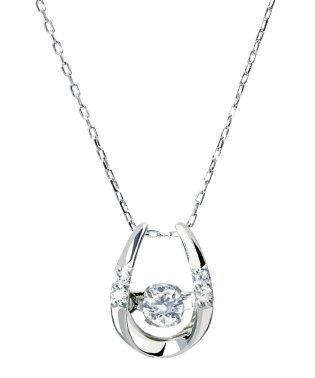 厳選ダイヤが胸元で踊る!K18ゴールド ダンシング 天然ダイヤモンド 計0.1ct 馬蹄ネックレス 【K18WG ホワイトゴールド】