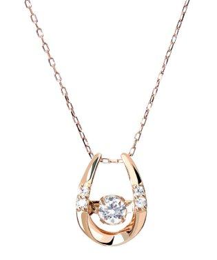 厳選ダイヤが胸元で踊る!K18ゴールド ダンシング 天然ダイヤモンド 計0.1ct 馬蹄ネックレス 【K18PG ピンクゴールド】