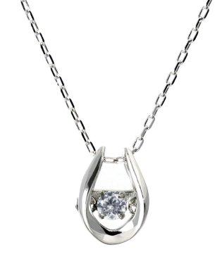 厳選ダイヤが胸元で踊る!K18ゴールド ダンシング 天然ダイヤモンド 0.03ct 馬蹄ネックレス 【K18WG ホワイトゴールド】