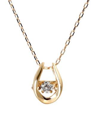 厳選ダイヤが胸元で踊る!K18ゴールド ダンシング 天然ダイヤモンド 0.03ct 馬蹄ネックレス 【K18PG ピンクゴールド】