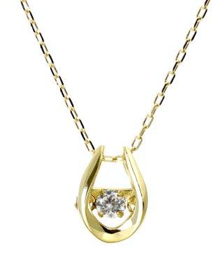 厳選ダイヤが胸元で踊る!K18ゴールド ダンシング 天然ダイヤモンド 0.03ct 馬蹄ネックレス 【K18YG イエローゴールド】