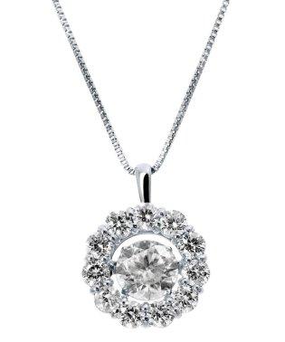 厳選ダイヤが胸元で踊る!K18ゴールド ダンシング 天然ダイヤモンド 計 1ct サークルネックレス 【K18WG ホワイトゴールド】