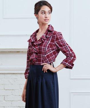 イタリアンチェック衿付フリルシャツ