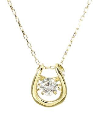 厳選ダイヤが胸元で踊る!K18ゴールド ダンシング 天然ダイヤモンド 0.1ct 馬蹄ネックレス 【K18YG イエローゴールド】