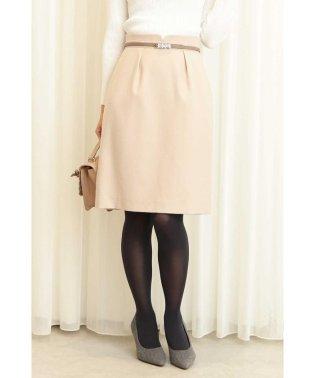 ウーリッシュフラノビジュー調ベルト付きタイトスカート