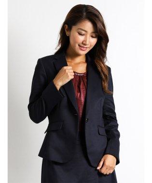 ストレッチウォッシャブル素材2ピーススーツ(テーラージャケット+フレアスカート)グレーポンチ
